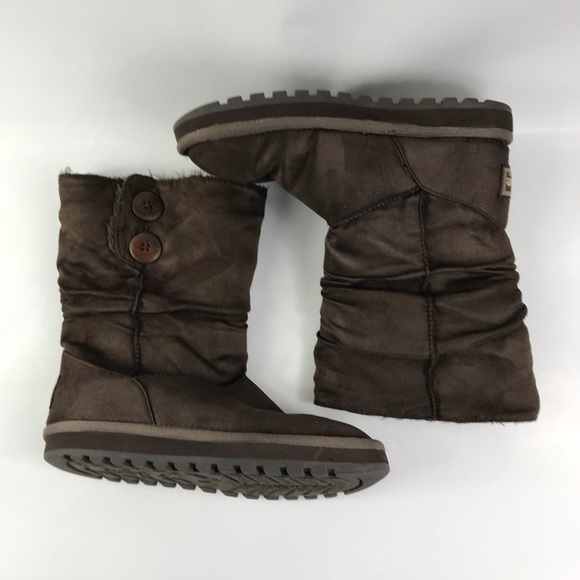 b96faf17ad7 Womens Skechers brown suede faux fur lined boots 8